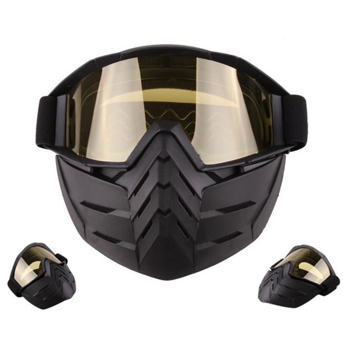 WoWa® Masque de Moto avec Lunettes Détachables et Filtre de Bouche Casque  de Visage Ouvert Ski Motocross - Rouge 4cf98a58569d