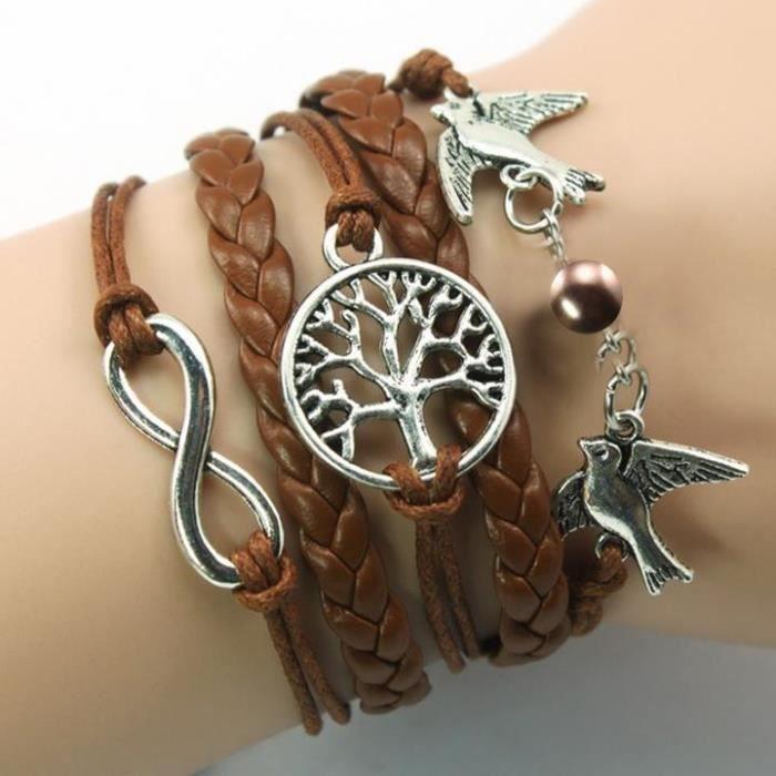 site réputé 58f4a 9e811 5 Couleurs Bracelet Arbre de Vie Personnalisé Bracelet Brun