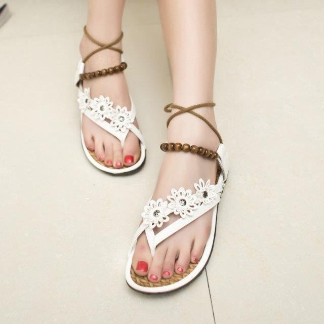 Toe Bohemian Sandals Flat Thong Roman Sandal Strap Chaussures perles étudiants Femme