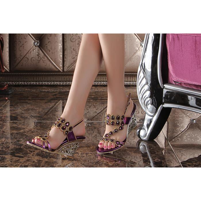 Sandales violet Nouveaux paon bohême strass cloutés creux compenséeschaussures de mariage de mariée