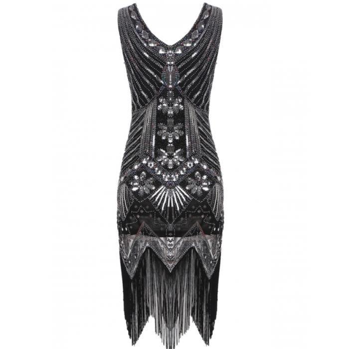 robe Femmes Vintage années 1920 Style paquet Hip V cou Tassel paillettes partie de soirée