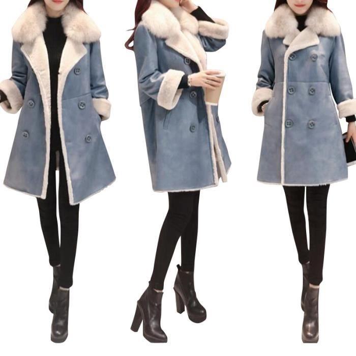 Manteau laine femme bleu - Achat   Vente pas cher 576ea7e3f07