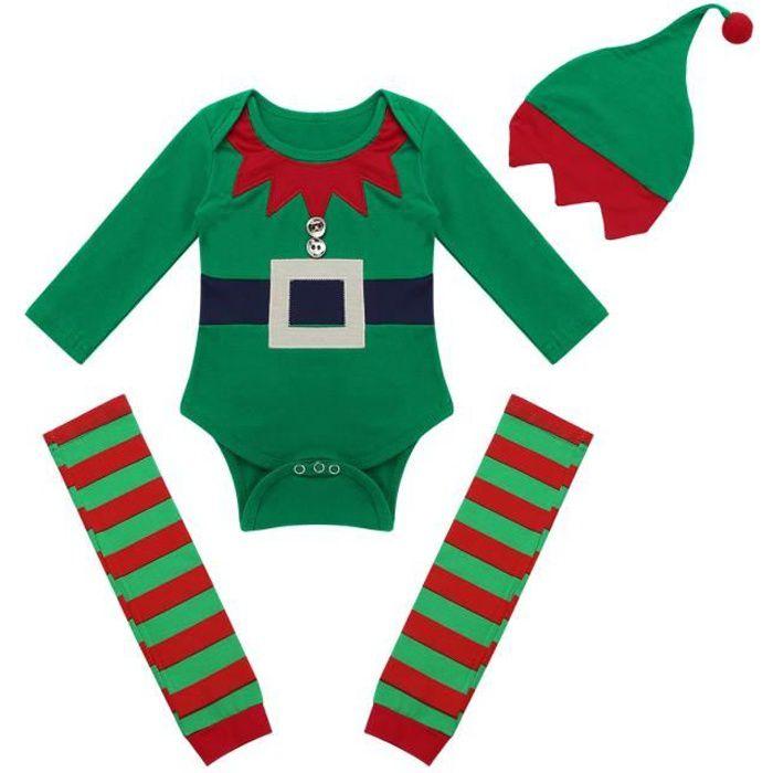 7f6864cf65d8c Body BéBé Garçon Lutin Noël - Ensemble Barboteuse Costume de Carnaval  Enfant Cosplay Elf Tenue Jeu de Rôle Déguisée Pyjama 3-18 Mois