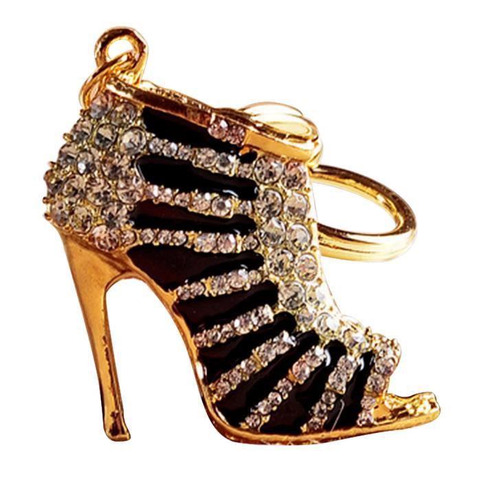 Vococal® Femmes filles chaussures talons Style métal strass métal chaîne porte-clés pour sac à main Noir et Or