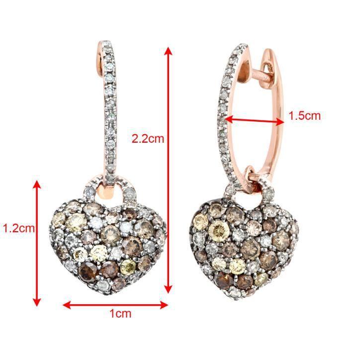 Revoni - Boucles d'oreilles pendantes en or rose 9 carats et diamants marrons et blancs 1,10 carats, motif cœur