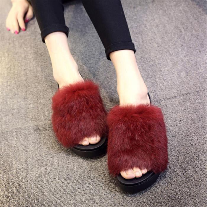 chausson femme hiver chaud maison intérieur chaussures femmes de luxe de marque pantoufle chaud hiver peluche Plus De Couleur