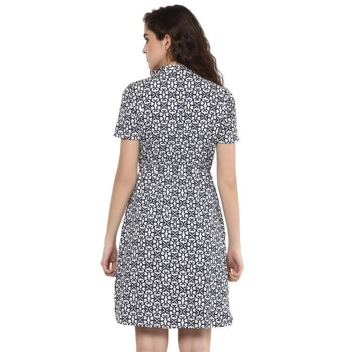 Womens Blue, White Printed Crepe A Line Dress J1SCH Taille-40