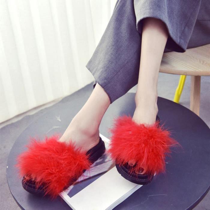 Slipper Fourrure Fluffy En Sandal Plat Flop Mesdames Femmes Cqq70801342rd Fausse On 0802 Slip Flip Sliders Yy6fbv7g