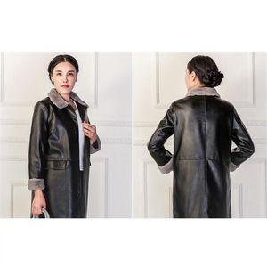 ... MANTEAU - CABAN cuir manteau femme hiver personnalité chaud Longue. ‹› 24c4b0dd99e8
