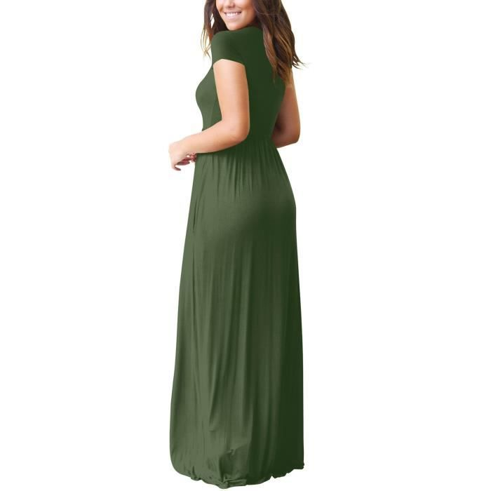 Casual Women Long - manches courtes Robe longue avec poches 2C6B9W Taille-36