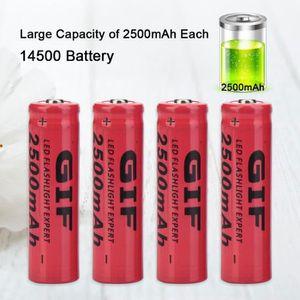 PILES 4pcs 2500mAh rechargeable 14500 batterie rouge pou