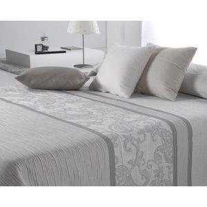 Couvre lit 235x270 cm tissé jacquard Carvex gris pour lit de