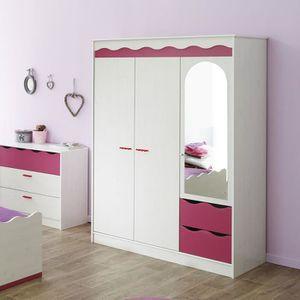 Armoire rose et blanche pour chambre fille LILOU - Achat ...