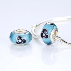 Charm's Murano Charms Pour Pandora Bracelets Bleu et Noir