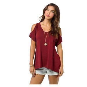 e8061d835c7dce T-SHIRT Tee-shirt femme sans bretelles manches courtes lâc