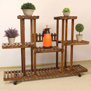 MEUBLE SUPPORT PLANTE  Jardinière en bois carbonisé - plante succulente -