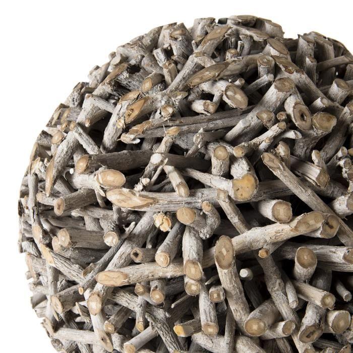 Boule déco branches - Bois Tek - Gris - 63x63x62,5 cm