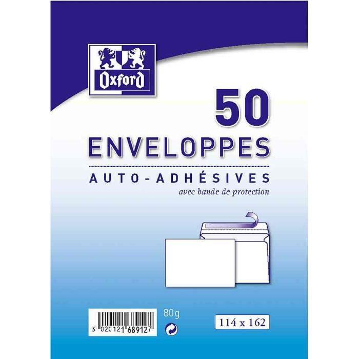 OXFORD 50 enveloppes auto-adhésives - 16,2 cm x 11,4 cm x 2 cm