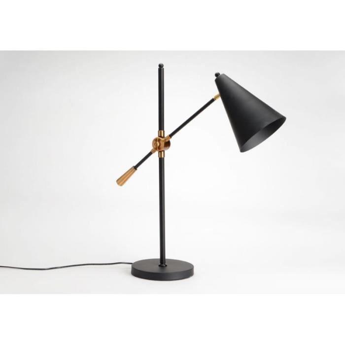 Lampe de bureau design chic noir Maxime Noir Achat Vente Lampe