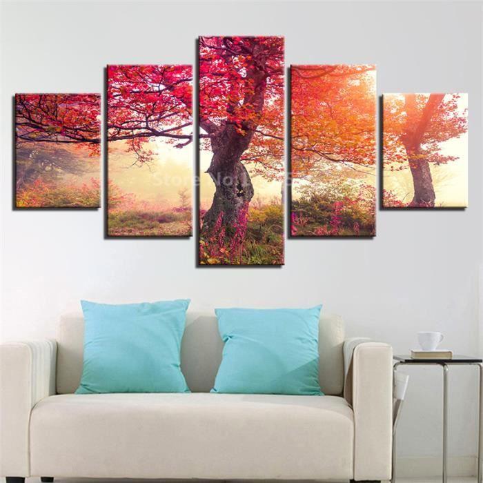 Mur Art Toile Peinture Salon 5 Pièces Automne Forêt Rouge Grand