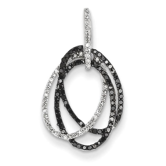 Or blanc 14 carats avec diamants blancs et noirs ovales pendentif