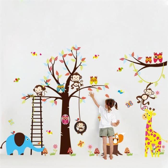grand arbre animaux stickers muraux pour chambre d 39 enfants d coration 1213 singe hibou zoo. Black Bedroom Furniture Sets. Home Design Ideas