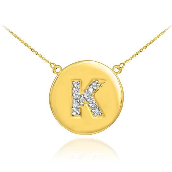 Pendentif 14 ct Or 585/1000lettre initiale Kdisque diamant initiale
