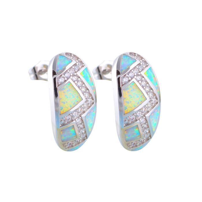 Boucles dOreilles Demi Cercle en Plaqué Argent et Opale et Cristal Blanc - Blue Pearls