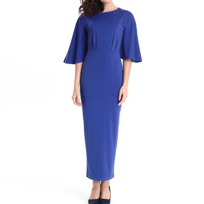HEE GRAND Robe de Soirée Femme Cheville-Longueur Couleur Pure Slim Vintage Élégant Mode Printemps