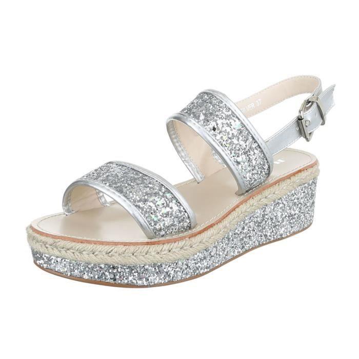 femme sandale chaussure chaussures d'été chaussures de plage Plateau Paillettes or Zl45y