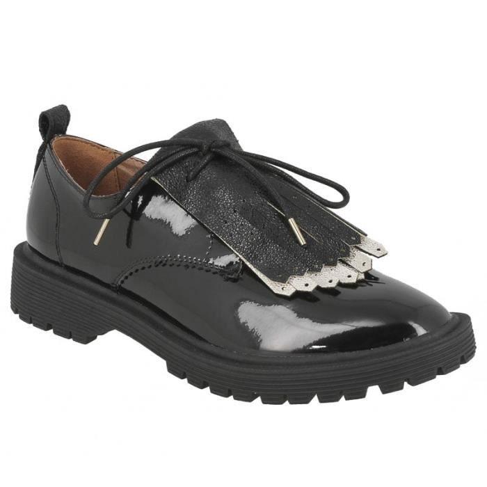 Chaussure Armistice pour dames Rock Derby en noir brillant.