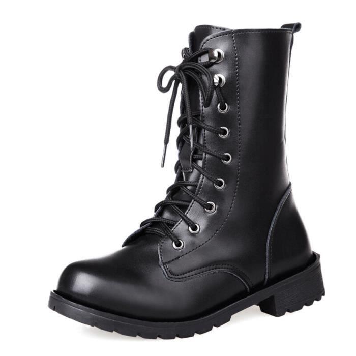 Botte Femme unie Noir Nouvelle arrivee Chaussure Antidérapant Respirant  Bottine Confortable Classique Beau Léger Beau Couleur 35,42