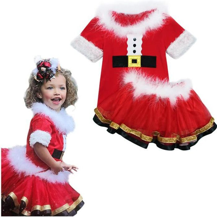 7e5d404096ee0 1-5 Ans Ensemble de Vêtement Noël - Haut et Jupe - Manche Courte - pour  Fille Bébé ou Enfant