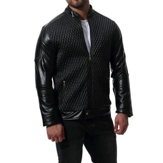 Top En Motard Hiver Coat Veste Rwei1604 Chemisier Zipper Outwear Automne Cuir Hommes Xqt48wt