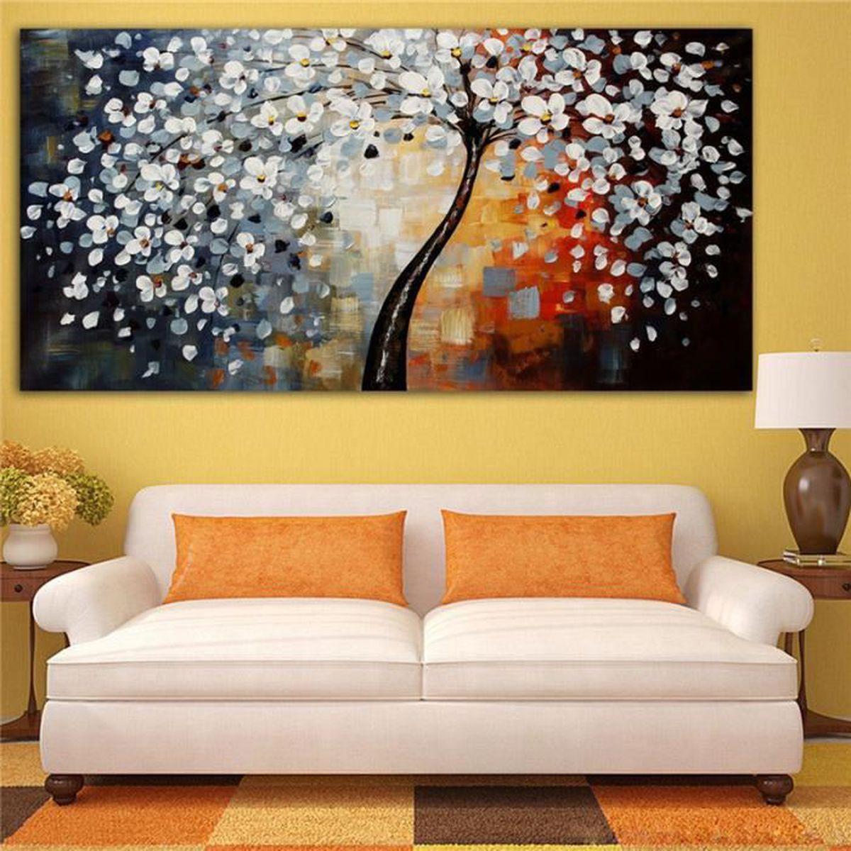 tableau peinture huile arbre de fleur toile abstraite moderne art d cor murale achat vente. Black Bedroom Furniture Sets. Home Design Ideas