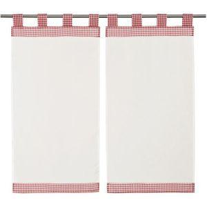RIDEAU Paire de vitrage vichy rouge et blanc 45 x 90 cm