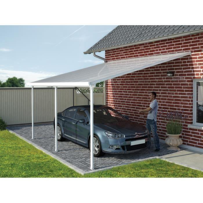 LIVRAISON INCLUSE - En aluminium et polycarbonate - Toit Couv'Terrasse adossé de 4x8 m.PERGOLA