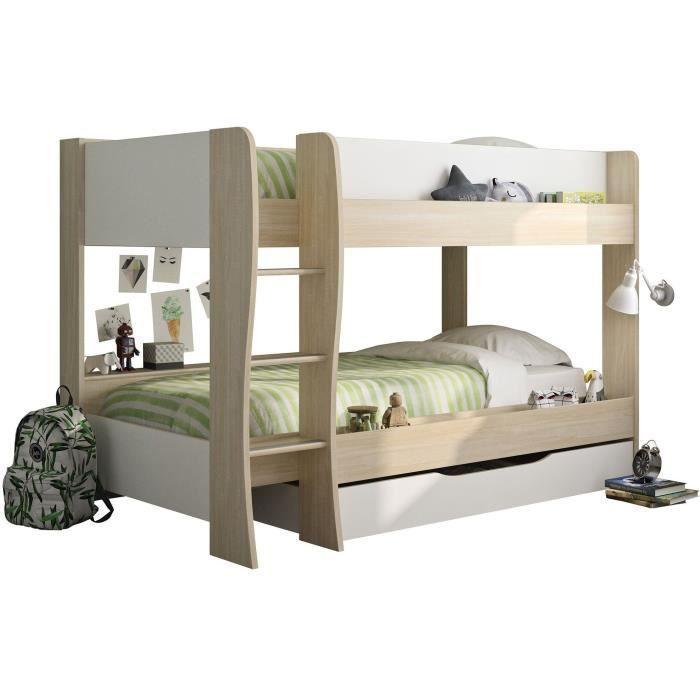 RIOU Lit superposé avec tiroir - Décor chêne clair et blanc - Sommiers inclus - 2x90x200 cm