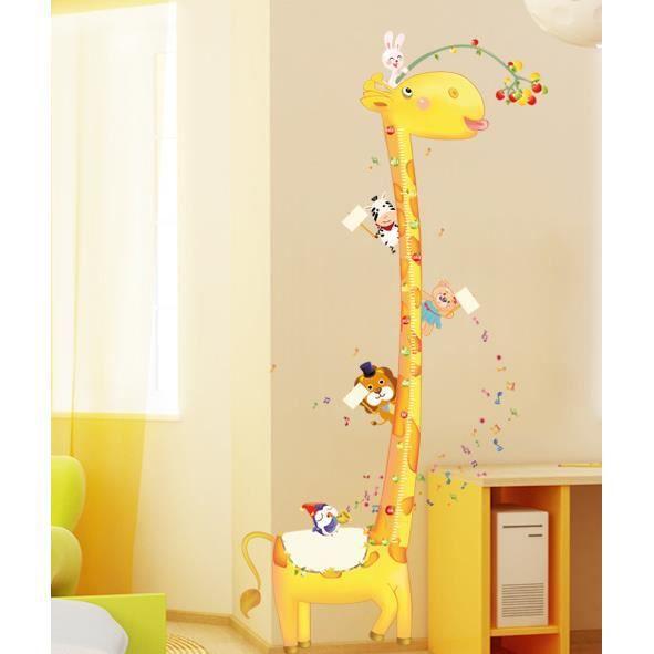Mignon girafe et petite amis des animaux stickers toises décoration chambre denfant