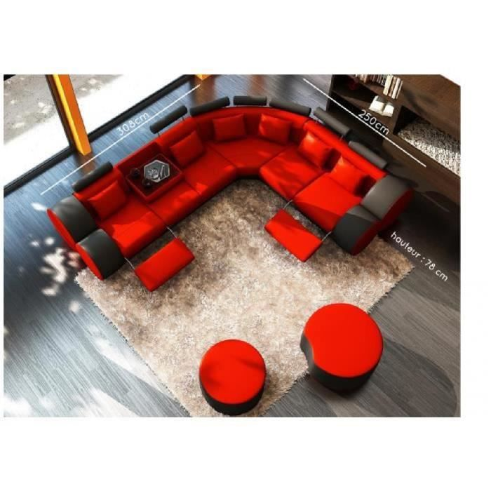 Canape D Angle Cuir Rouge Et Noir Positions Relax Roma Achat