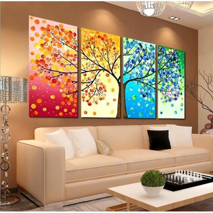 4 pi ce sans cadre color feuille arbres toile peinture mur art jet mur peinture toile. Black Bedroom Furniture Sets. Home Design Ideas