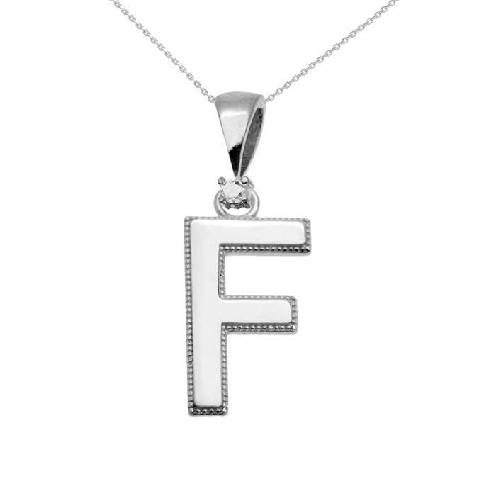 Collier Femme Pendentif 14 Ct Or Blanc Poli Élevé Milgrain Solitaire Diamant F Initiale (Livré avec une 45cm Chaîne)