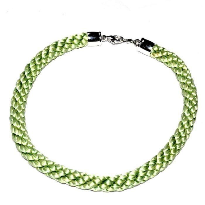 Bijou Collier jonc ras de cou PIERRE LANG rhodium argenté textile vert