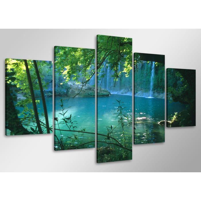 tableau moderne imprim 233 lac achat vente tableau toile toile bois cdiscount