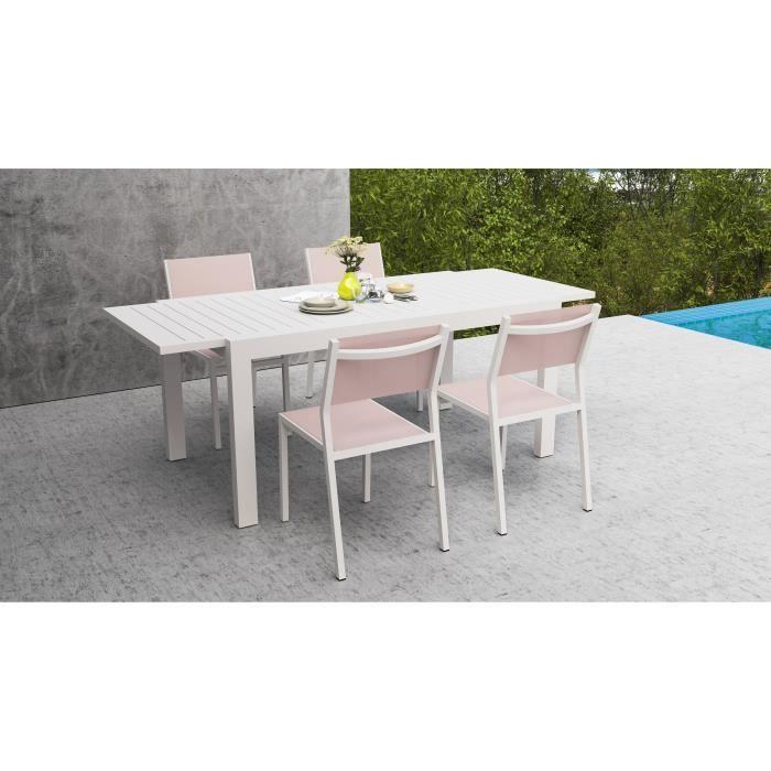 EXTENSO Ensemble repas de jardin - Table extension automatique en alu + 4  chaises alu et toile enduite - Blanc