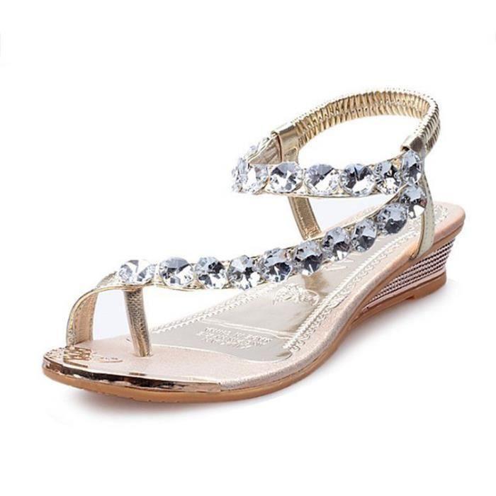 Femmes sandales plat mode Plage Bohème strass été confortable kaqgeIs85