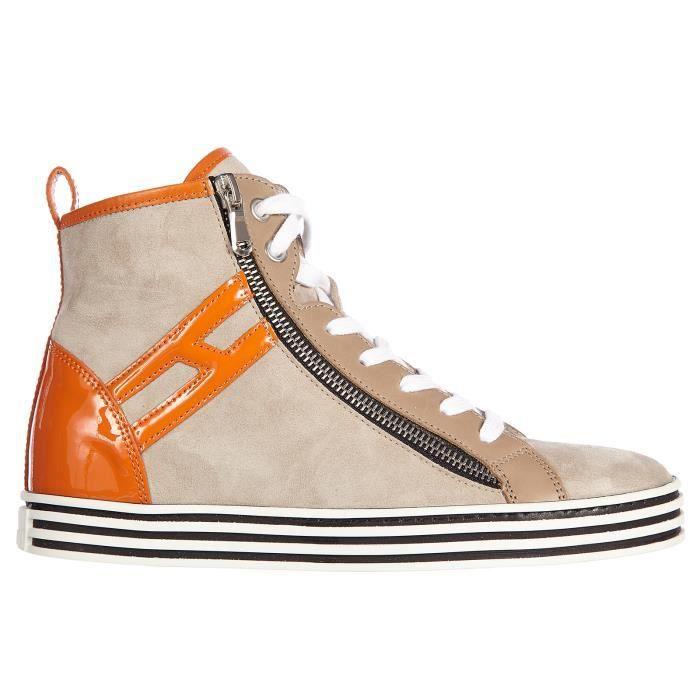 Chaussures baskets sneakers hautes femme en daim r182 rebel vintage zip Hogan Rebel