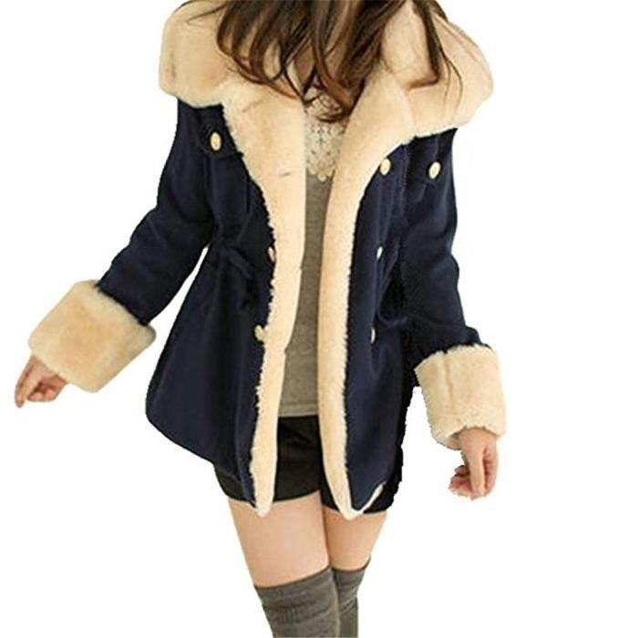 minetom femme mode hiver chaud manteaux capuche veste manteau casual outwear coat bleu bleu. Black Bedroom Furniture Sets. Home Design Ideas