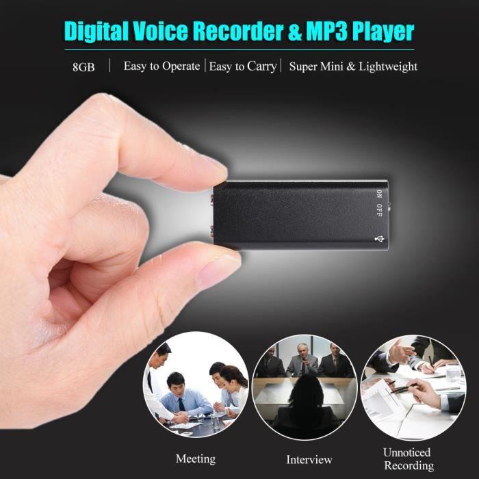Super Mini 8 Go Usb Enregistreur Vocal Audio Numérique Dictaphone Lecteur Mp3