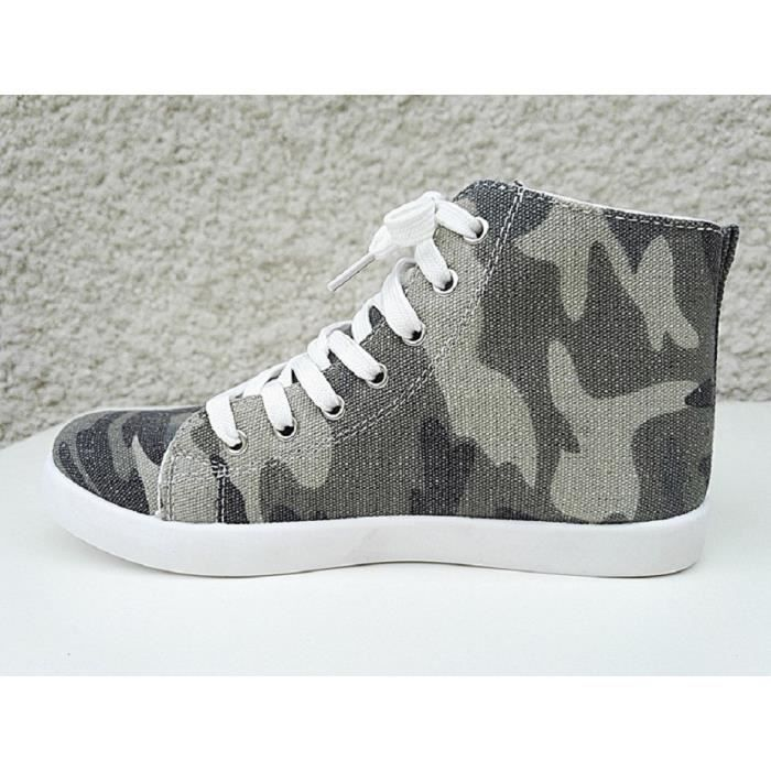 Fashionfolie888 - Baskets montante camouflage femme militaire army toile mode fille F165 CAMOUFLAGE fQe3QAhx